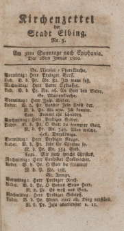 Kirchenzettel der Stadt Elbing, Nr. 5, 26 Januar 1800
