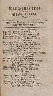 Kirchenzettel der Stadt Elbing, Nr. 7, 9 Februar 1800