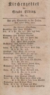 Kirchenzettel der Stadt Elbing, Nr. 13, 23 März 1800