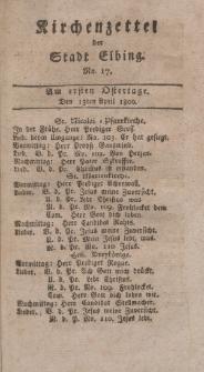 Kirchenzettel der Stadt Elbing, Nr. 17, 13 April 1800