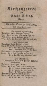 Kirchenzettel der Stadt Elbing, Nr. 18, 20 April 1800