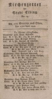 Kirchenzettel der Stadt Elbing, Nr. 19, 27 April 1800