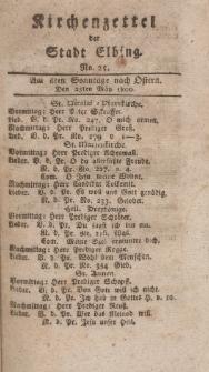 Kirchenzettel der Stadt Elbing, Nr. 25, 25 Mai 1800