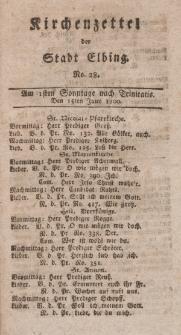 Kirchenzettel der Stadt Elbing, Nr. 28, 15 Juni 1800