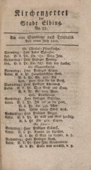 Kirchenzettel der Stadt Elbing, Nr. 33, 20 Juli 1800
