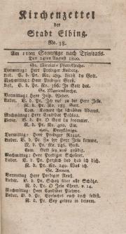 Kirchenzettel der Stadt Elbing, Nr. 38, 24 August 1800