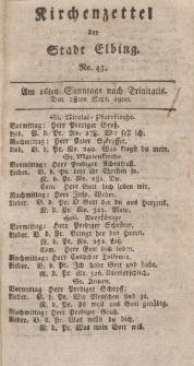 Kirchenzettel der Stadt Elbing, Nr. 43, 28 September 1800
