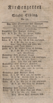 Kirchenzettel der Stadt Elbing, Nr. 52, 30 November 1800