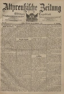 Altpreussische Zeitung, Nr. 215 Mittwoch 13 September 1899, 51. Jahrgang