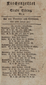Kirchenzettel der Stadt Elbing, Nr. 4, 18 Januar 1801