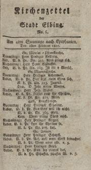Kirchenzettel der Stadt Elbing, Nr. 6, 1 Februar 1801