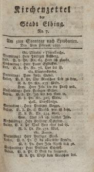 Kirchenzettel der Stadt Elbing, Nr. 7, 8 Februar 1801