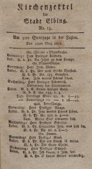 Kirchenzettel der Stadt Elbing, Nr. 13, 22 März 1801