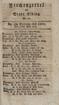 Kirchenzettel der Stadt Elbing, Nr. 22, 10 Mai 1801