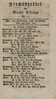 Kirchenzettel der Stadt Elbing, Nr. 31, 7 Juli 1801
