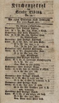 Kirchenzettel der Stadt Elbing, Nr. 39, 30 August 1801