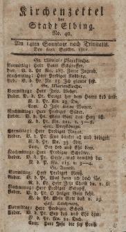 Kirchenzettel der Stadt Elbing, Nr. 40, 6 September 1801