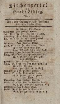 Kirchenzettel der Stadt Elbing, Nr. 41, 13 September 1801