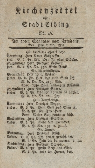 Kirchenzettel der Stadt Elbing, Nr. 46, 18 Oktober 1801