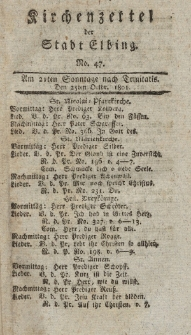 Kirchenzettel der Stadt Elbing, Nr. 47, 25 Oktober 1801
