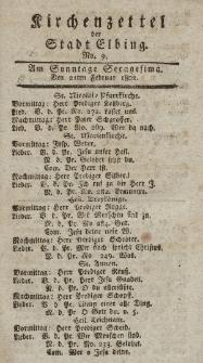 Kirchenzettel der Stadt Elbing, Nr. 9, 21 Februar 1802