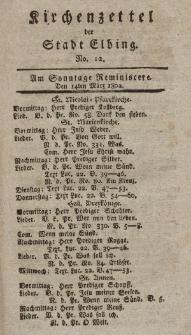 Kirchenzettel der Stadt Elbing, Nr. 12, 14 März 1802