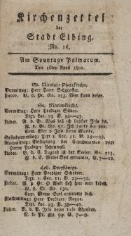 Kirchenzettel der Stadt Elbing, Nr. 16, 16 April 1802