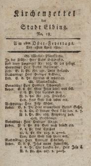 Kirchenzettel der Stadt Elbing, Nr. 18, 18 April 1802