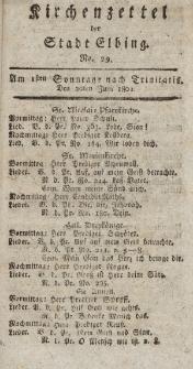 Kirchenzettel der Stadt Elbing, Nr. 29, 20 Juni 1802