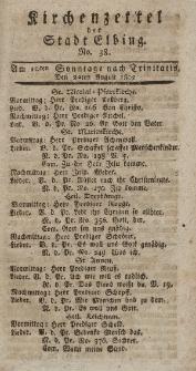 Kirchenzettel der Stadt Elbing, Nr. 38, 22 August 1802