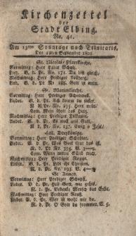 Kirchenzettel der Stadt Elbing, Nr. 41, 12 September 1802