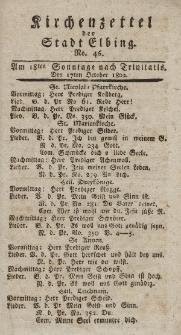 Kirchenzettel der Stadt Elbing, Nr. 46, 17 Oktober 1802