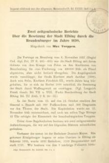 Zwei zeitgenössische Berichte über die Besetzung der Stadt Elbing durch die Brandenburger im Jahre 1698