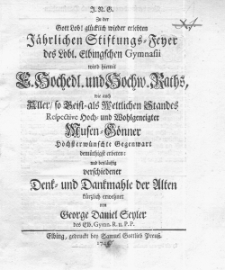 Ordnung und Namen derer von Lotterien redenden Personen 1744 Adl. 1