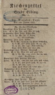 Kirchenzettel der Stadt Elbing, Nr. 1, 1 Januar 1805