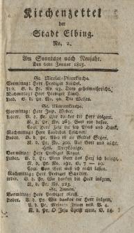 Kirchenzettel der Stadt Elbing, Nr. 2, 6 Januar 1805