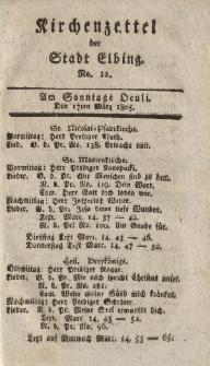 Kirchenzettel der Stadt Elbing, Nr. 12, 17 März 1805