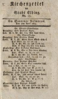 Kirchenzettel der Stadt Elbing, Nr. 15, 7 April 1805