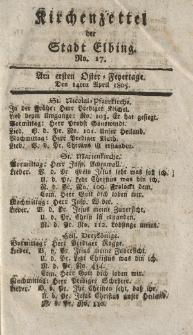 Kirchenzettel der Stadt Elbing, Nr. 17, 14 April 1805