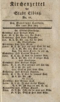 Kirchenzettel der Stadt Elbing, Nr. 22, 12 Mai 1805