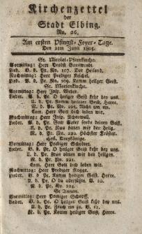 Kirchenzettel der Stadt Elbing, Nr. 26, 2 Juni 1805