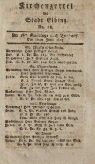 Kirchenzettel der Stadt Elbing, Nr. 28, 16 Juni 1805