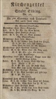 Kirchenzettel der Stadt Elbing, Nr. 30, 3 Juli 1805