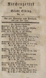 Kirchenzettel der Stadt Elbing, Nr. 31, 7 Juli 1805