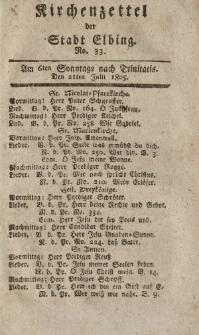 Kirchenzettel der Stadt Elbing, Nr. 33, 21 Juli 1805