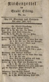 Kirchenzettel der Stadt Elbing, Nr. 34, 28 Juli 1805