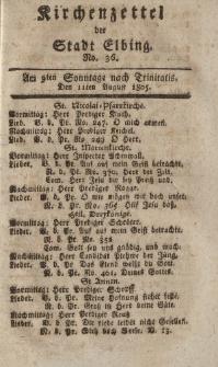 Kirchenzettel der Stadt Elbing, Nr. 36, 11 August 1805