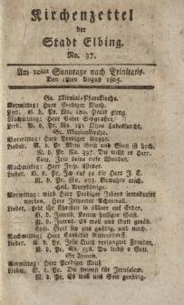 Kirchenzettel der Stadt Elbing, Nr. 37, 18 August 1805