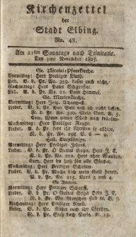 Kirchenzettel der Stadt Elbing, Nr. 48, 3 November 1805