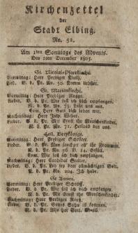 Kirchenzettel der Stadt Elbing, Nr. 52, 1 Dezember 1805